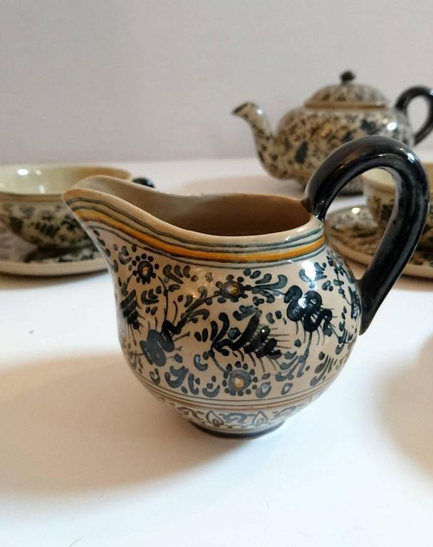 Italian Molaroni Pesaro Teapot and Cups Set, Italy, 1930s
