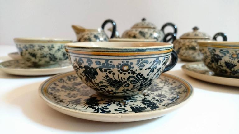 Molaroni Pesaro Teapot and Cups Set, Italy, 1930s In Excellent Condition In Albano Laziale, Rome/Lazio