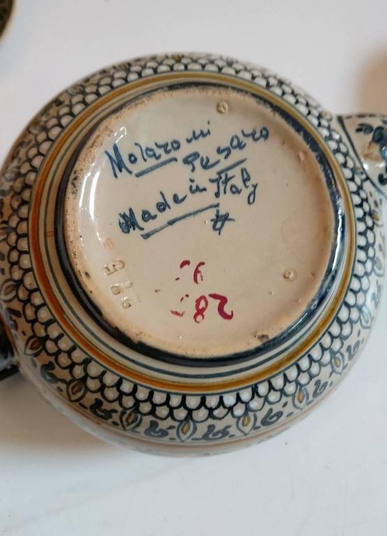 Art Deco Molaroni Pesaro Teapot and Cups Set, Italy, 1930s