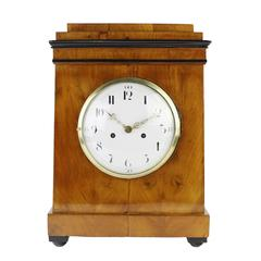 19th Century Biedermeier Period Table/Desk Clock, Enamel Dial