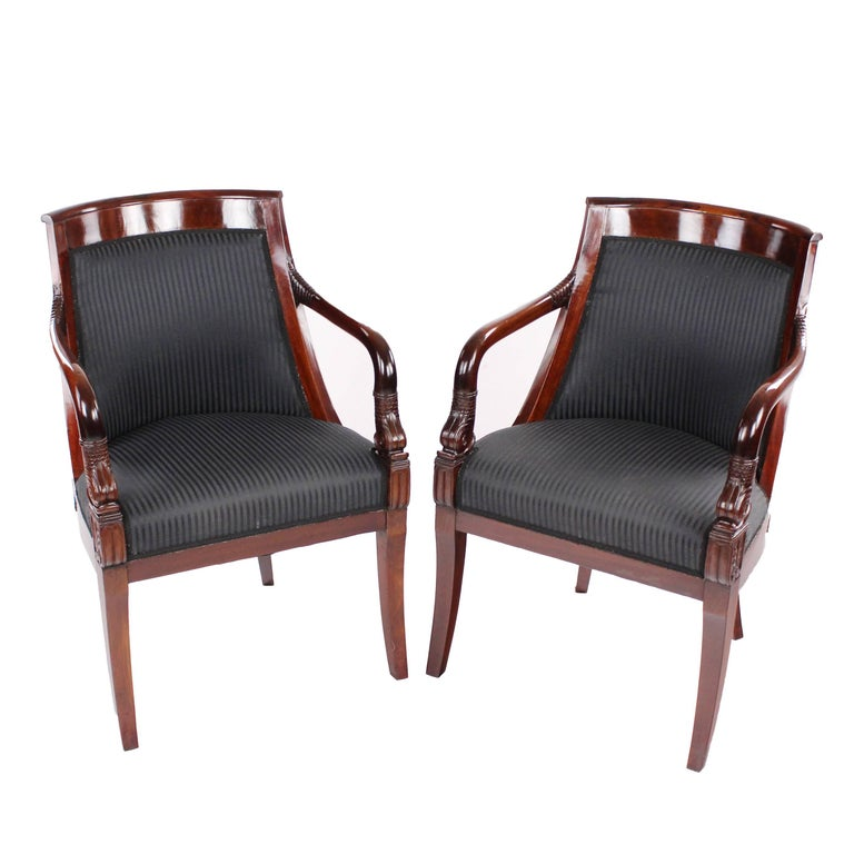 Pair of Early 19th Century Arm Easy Chairs, France, circa 1820 Mahogany Armrests