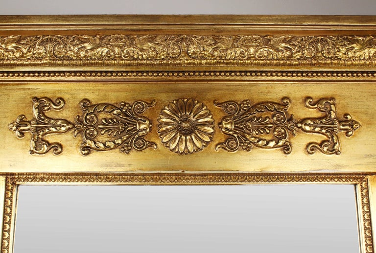 • 19th century pillar mirror • Empire, circa 1800-1810, Peter Schmuckert 1765-1841 (Mannheim, Germany) • Wood, golden-colored calm • Restored state • Measures: Height 120 cm, width 76 cm, depth 10 cm  Delivery can be made to your door within 7