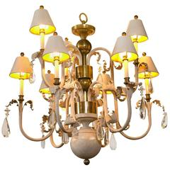 Hollywood Regency French Eight-Arm Gesso, Brass and Wood Chandelier