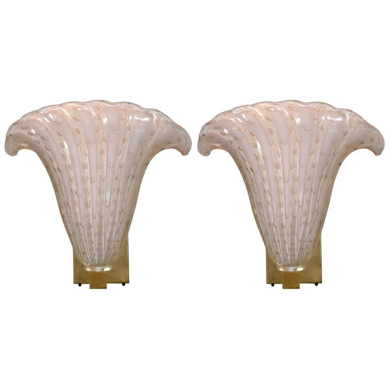 pair of hollywood regency murano glass plume form wall