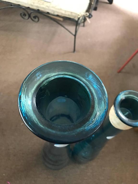 Two Beautiful Blue Sea Glass Handblown 100 Percent
