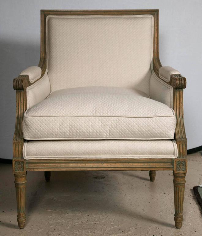 louis xvi style bergere chair style of jansen at 1stdibs. Black Bedroom Furniture Sets. Home Design Ideas
