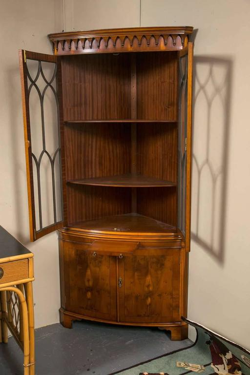 Bevan Funnell Yew Wood Corner Cabinet At 1stdibs