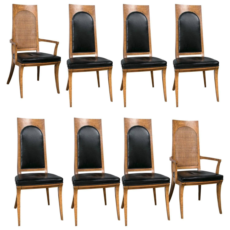Eight mastercraft burl wood and black vinyl mid century dining chair