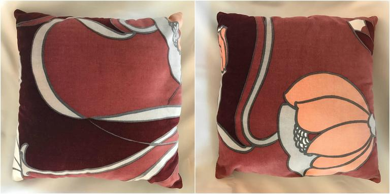 Set of Nine Mid-Century Modern Velvet Lotus Flower Pillows at 1stdibs
