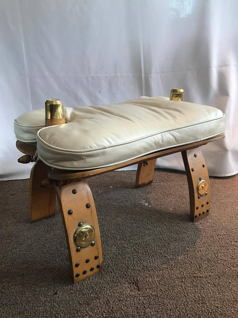 Unique Egyptian Camel Bench Or Ottoman Creme Colored