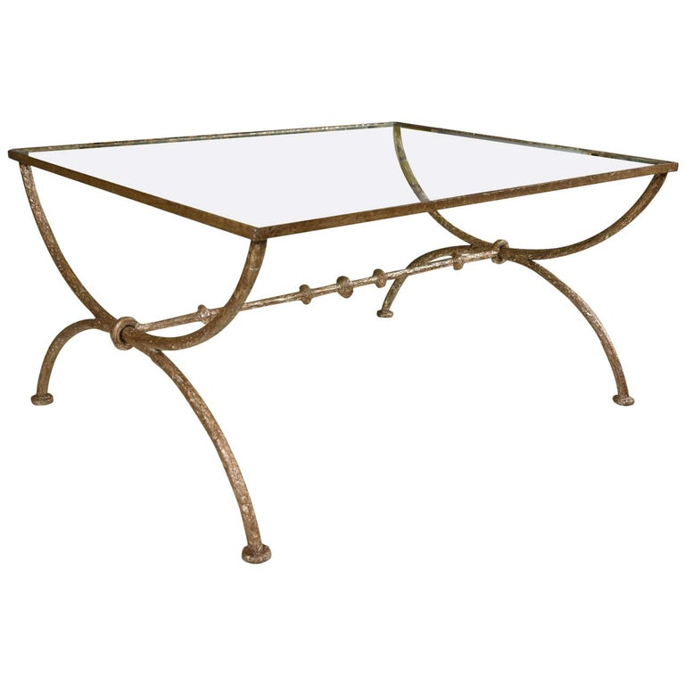 Wonderful Wrought Iron Glass Coffee Or Low Table For Sale At 1stdibs