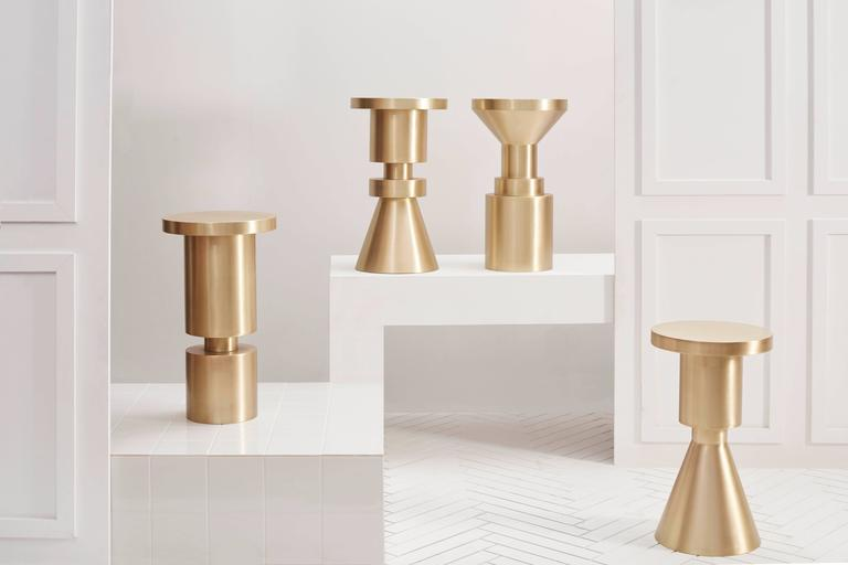These handmade counter height stools are made to work individually or as a group.  Made from cold rolled steel and hand plated in a brushed brass finish.  As each piece is custom-made we can adjust the size according to your needs. Previous