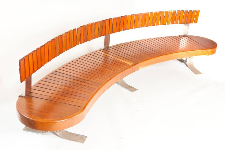 Rare Mid-Century Bench in Peroba Rosa Wood by Carlo Hauner , Brazil , 1960 6