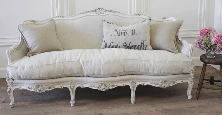 Beautiful Antique Sofa With Carved Flowers And S Motifs Painted In Our Signature Oyster White
