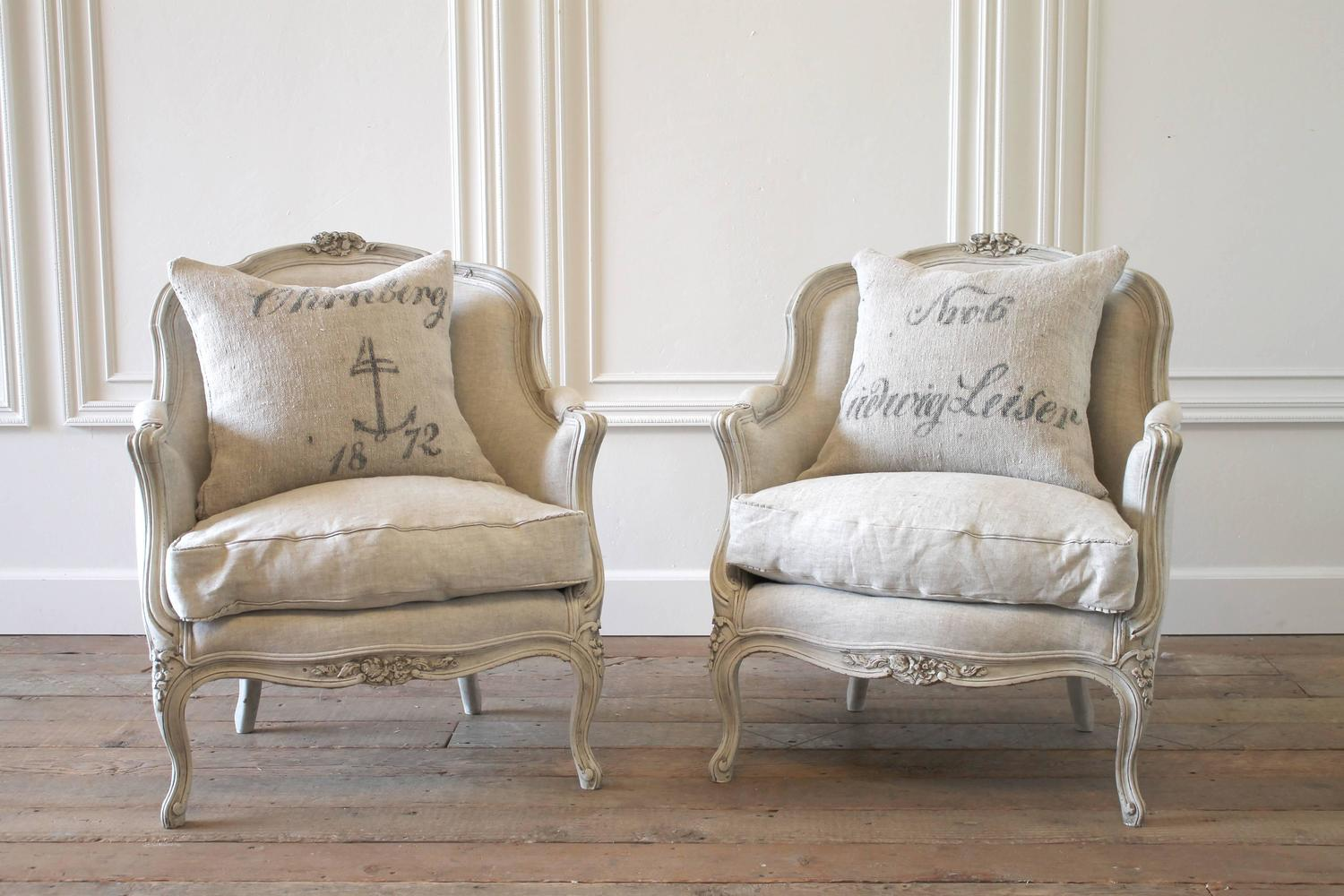 pair of 19th century painted louis xv style french bergere