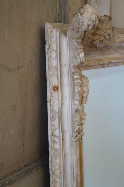 Large Louis Xv Style Hand Carved Wood And White Washed