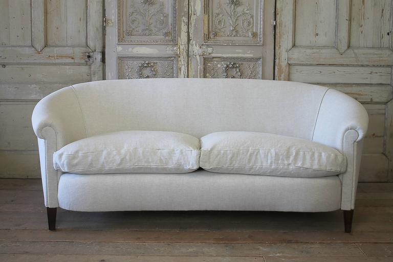 Chesterfield Vintage English Style Upholstered Sofa In Belgian Linen For  Sale