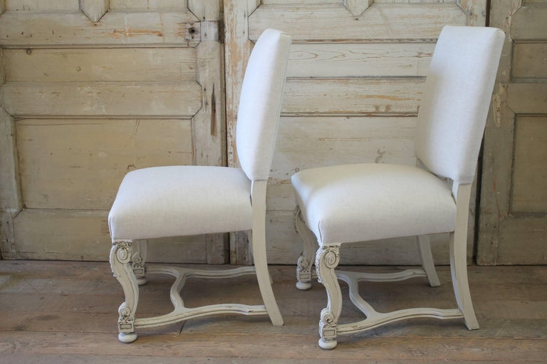 Set of Eight Carved and Linen Upholstered Renaissance Dining Chairs In Good Condition For Sale In Brea, CA
