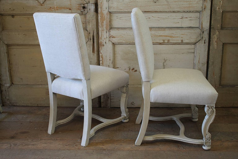 Set of Eight Carved and Linen Upholstered Renaissance Dining Chairs For Sale 2