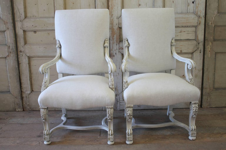 Set of Eight Carved and Linen Upholstered Renaissance Dining Chairs For Sale 3
