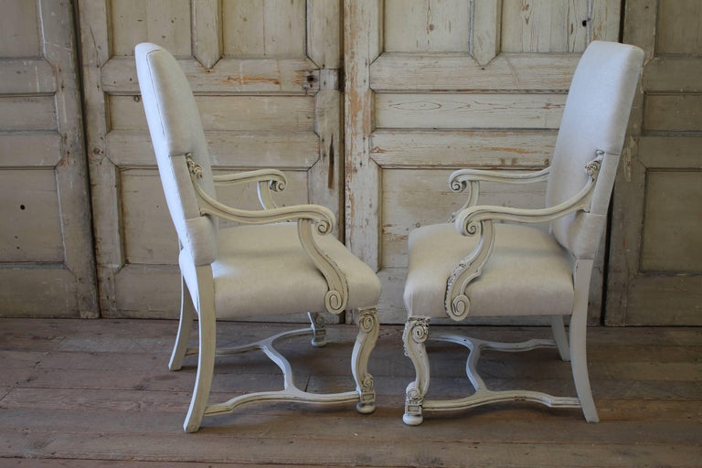 Set of Eight Carved and Linen Upholstered Renaissance Dining Chairs For Sale 5