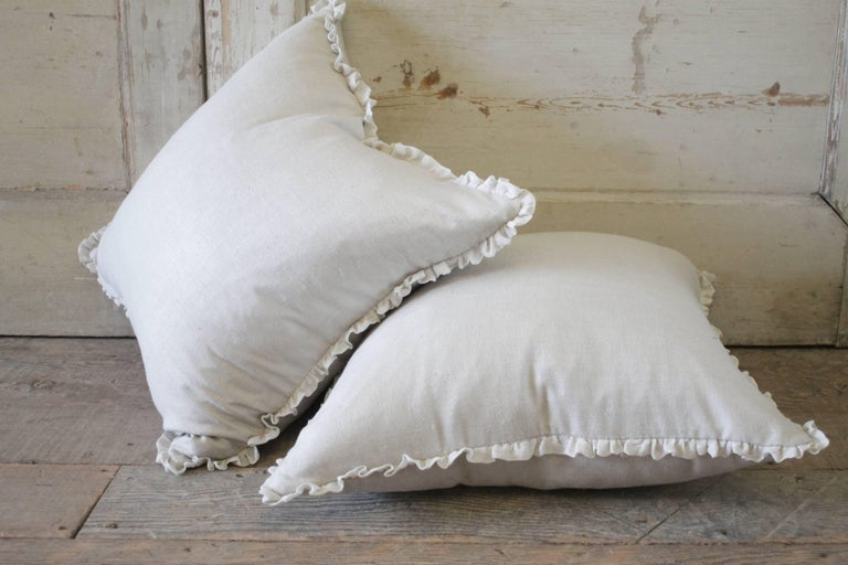 Romantic Silk and Linen Accent Pillows For Sale