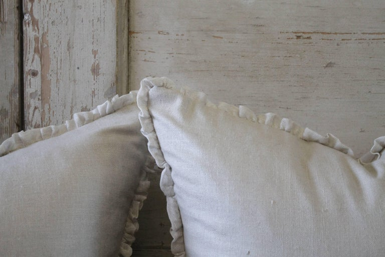 American Silk and Linen Accent Pillows For Sale