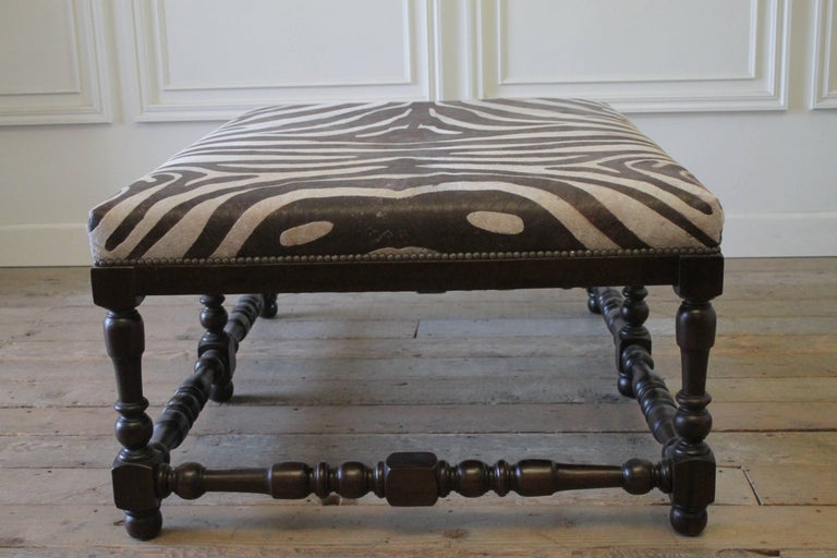 Custom Zebra Print Upholstered Hide Cocktail Ottoman At 1stdibs