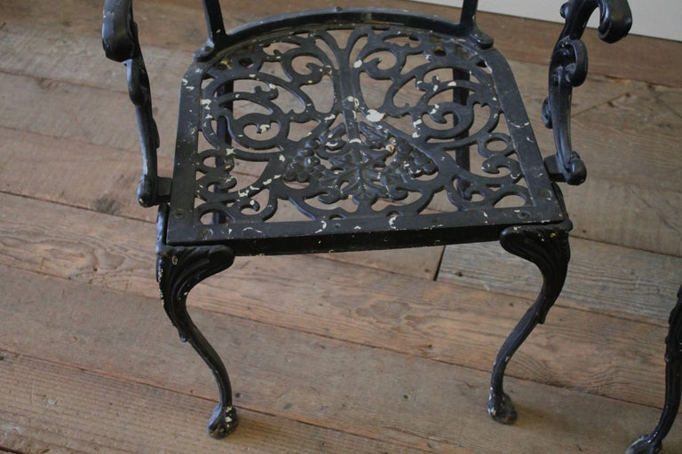 Pair Of Antique Cast Iron Garden Chairs At 1stdibs