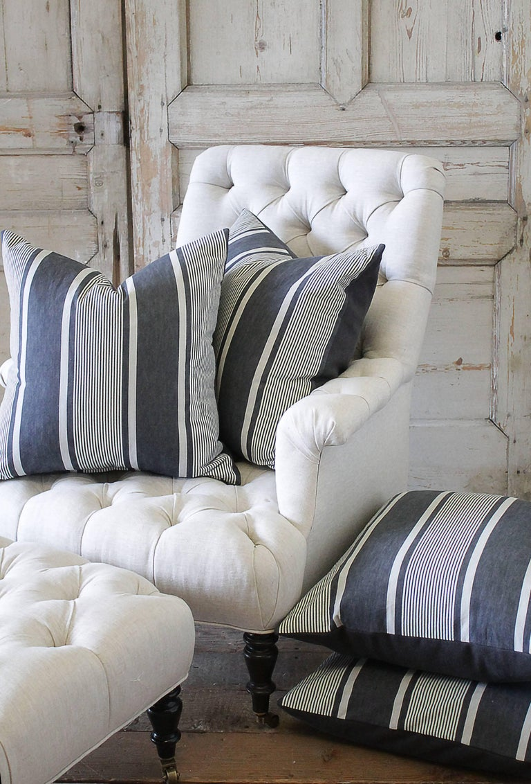 Rustic Antique French Ticking Accent Pillows in Coal For Sale