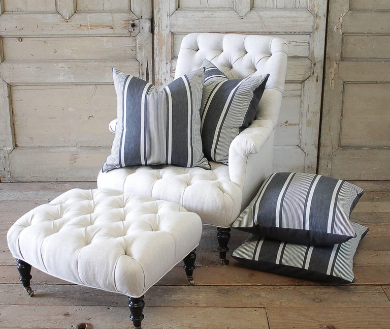 Antique French Ticking Accent Pillows in Coal In Good Condition For Sale In Brea, CA