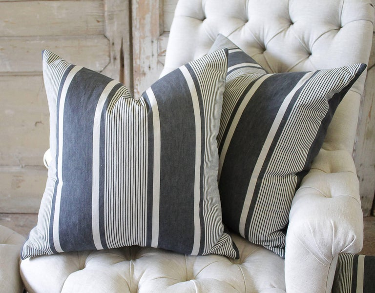 19th Century Antique French Ticking Accent Pillows in Coal For Sale