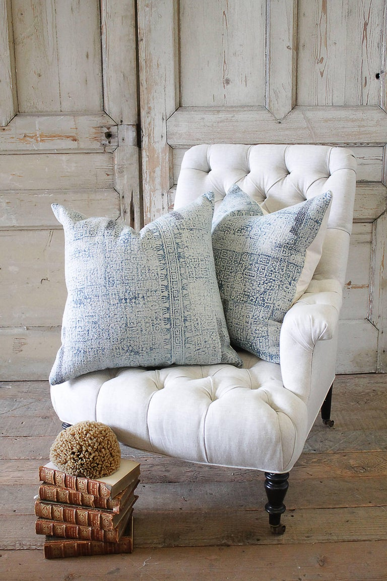 Measure: 22 x 22 Cotton pillow in an over-dyed boho chic pattern in faded blues. Solid back with zipper closure. These beautiful pillows were inspired from the new movie Home Again, creating a relaxed California boho chic vibe. New, custom-made