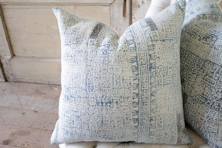Indian Batik Color Block Style Accent Pillows For Sale