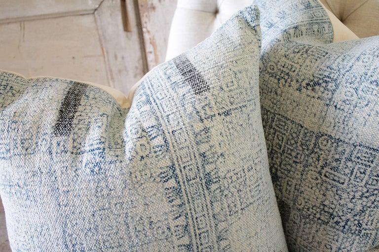 Contemporary Batik Color Block Style Accent Pillows For Sale