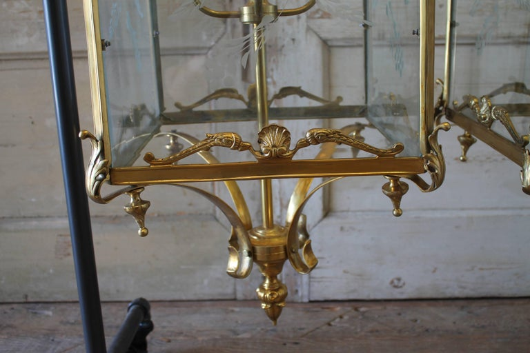Pair of English Gilt Bronze Lantern Lights with Etched Glass For Sale 2