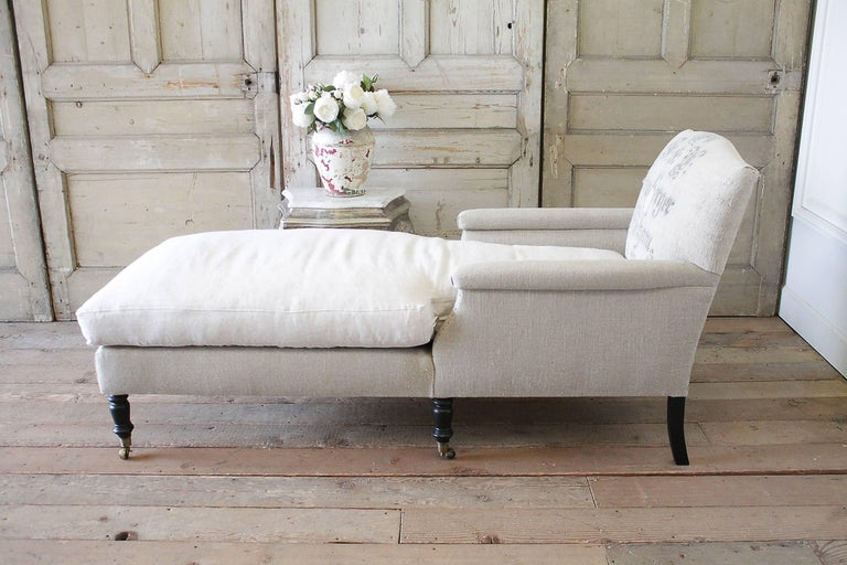 Antique style chaise longue with antique german feed sack for Antique chaise longue for sale