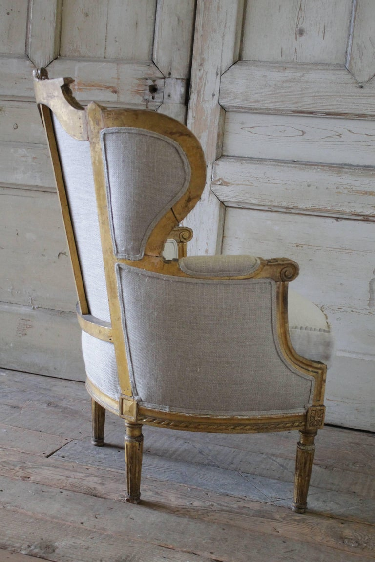 Antique French Louis Xvi Style Wing Chair In Antique Grain