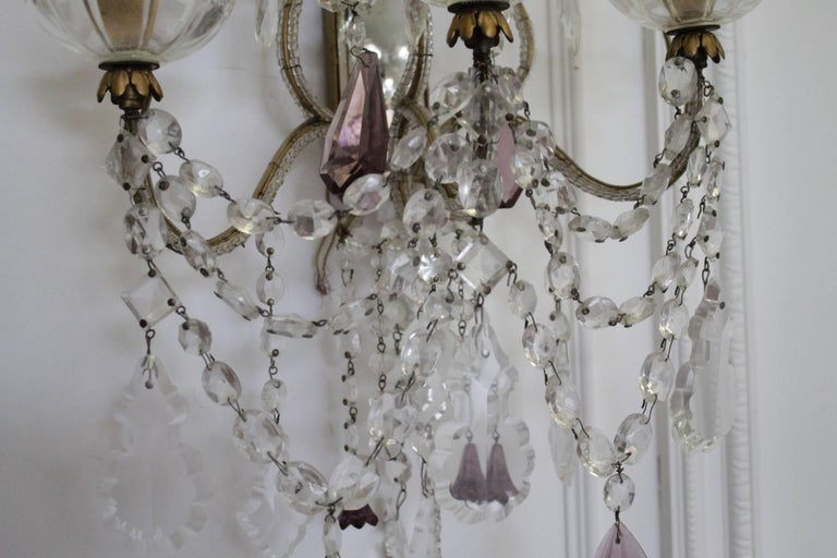 Pair Of Beaded Arm Antique Mirror Back Crystal Sconces At