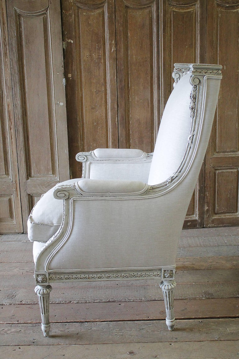 Antique Louis Xvi Painted And Upholstered Wing Chair And