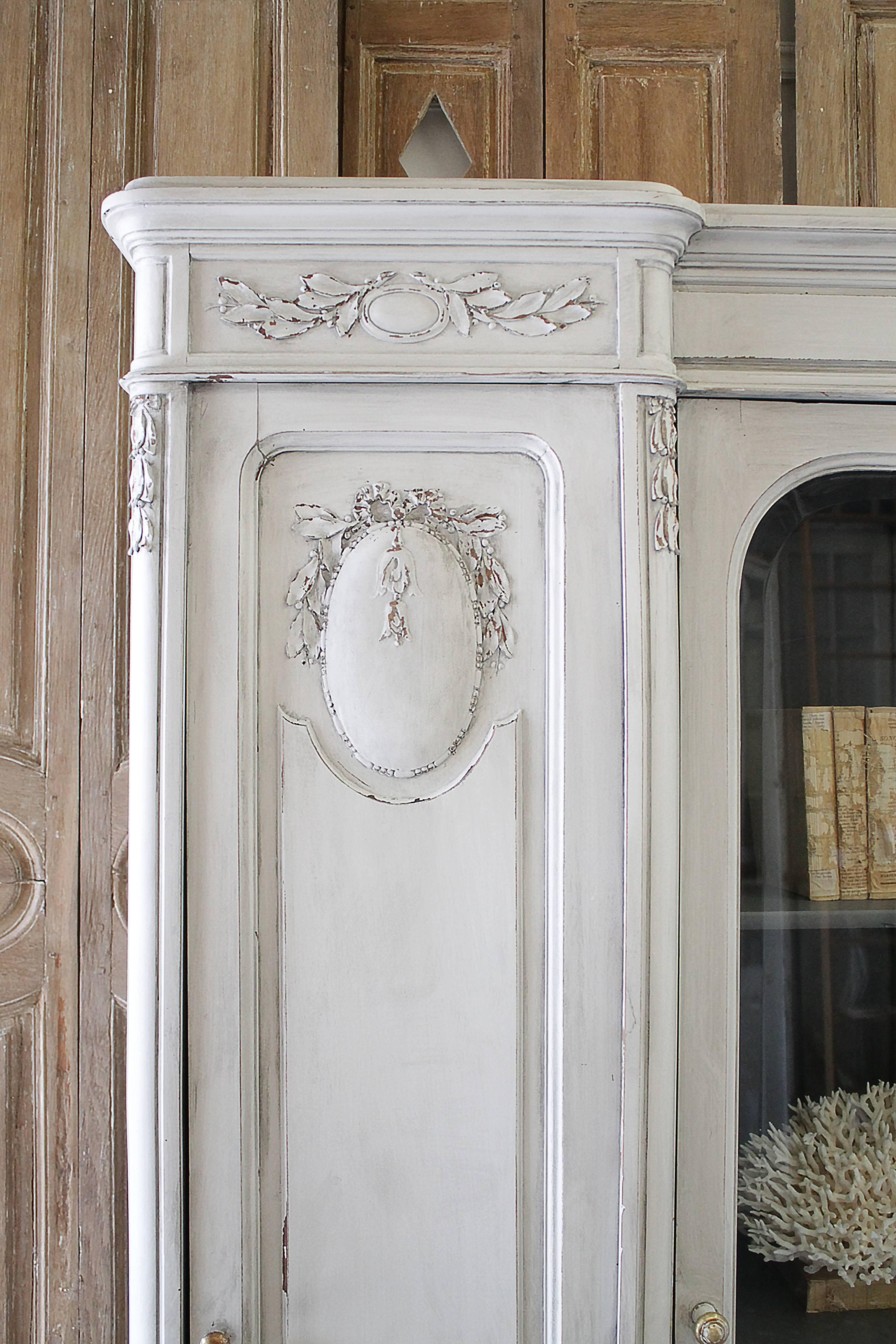Beautiful Early 20th Century French Style Painted And Carved Display Armoire.  Three Doors, The
