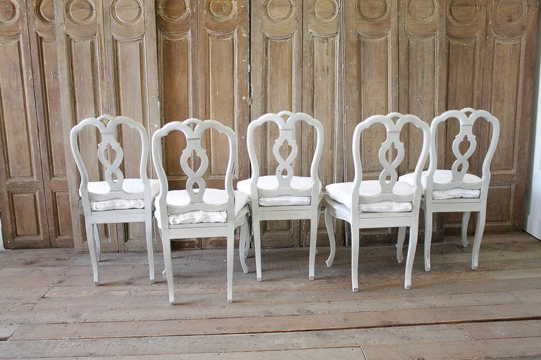 Fruitwood Set of Ten Early 20th Century Italian Carved Painted Dining Chairs For Sale