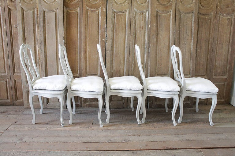 Set of Ten Early 20th Century Italian Carved Painted Dining Chairs For Sale 1