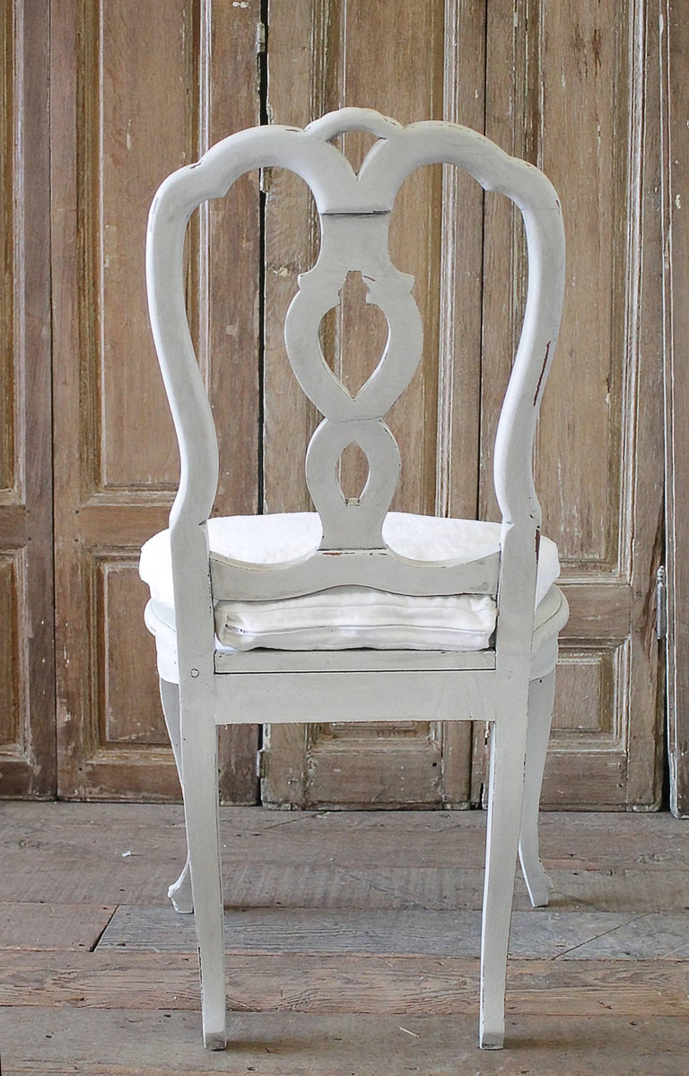 Set of Ten Early 20th Century Italian Carved Painted Dining Chairs For Sale 5