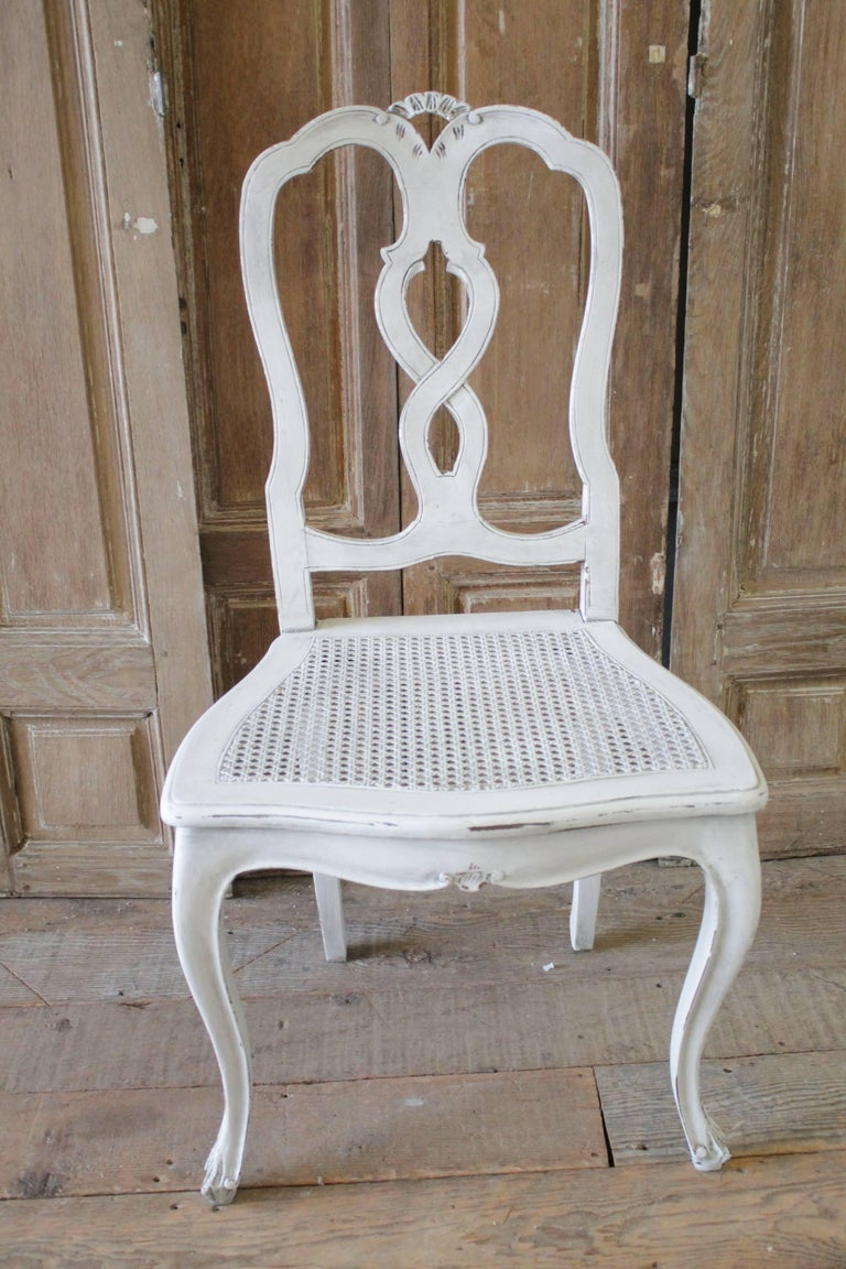 Set of Ten Early 20th Century Italian Carved Painted Dining Chairs For Sale 4
