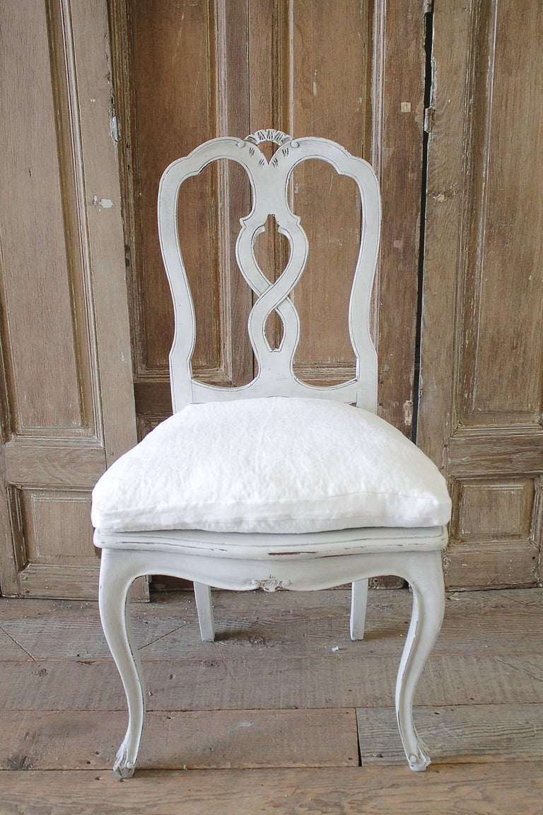 Set of Ten Early 20th Century Italian Carved Painted Dining Chairs For Sale 2