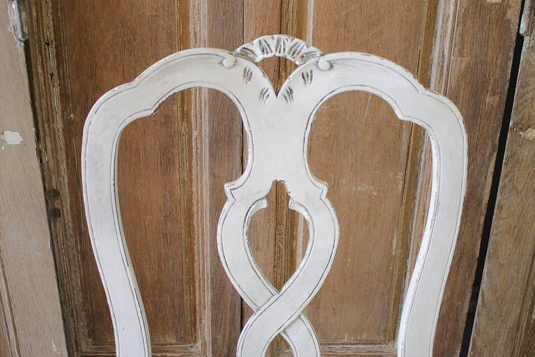 Set of Ten Early 20th Century Italian Carved Painted Dining Chairs For Sale 3