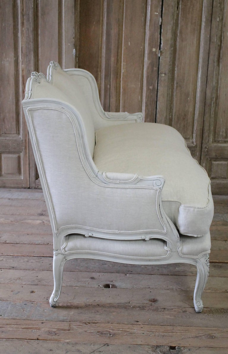 20th Century Painted And Upholstered Country French Style Loveseat For Sale At 1stdibs
