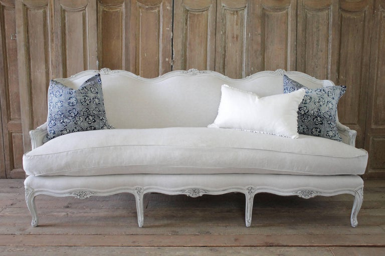 Lovely French Country Sofa Painted In Oyster White With Subtle Areas Of Distressing And Hand