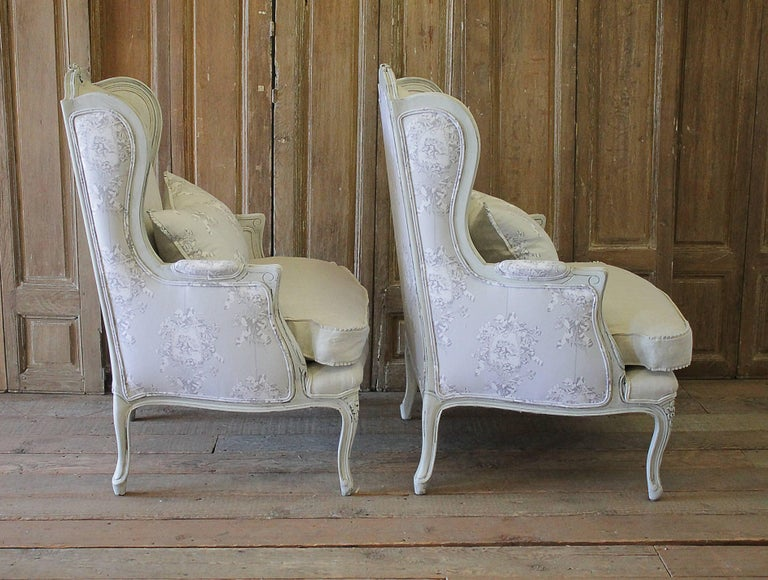 Antique Pair Of French Country Style Bergere Wingback